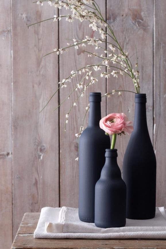 Des soliflores à partir de bouteilles en verre